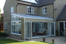 Bi-fold doors installed on a conservatory in a house in Oxfordshire