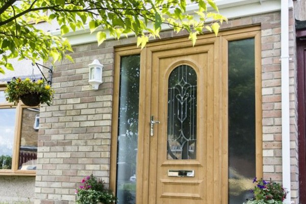 uPVC Door with stained glass window and side windows in Oxfordshire