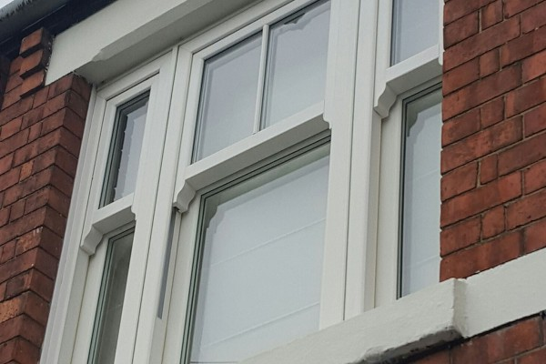 Sliding Sash Windows in Oxford on a red-brick house