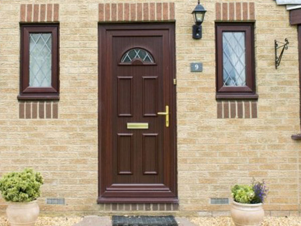 uPVC mahogany effect door installed in Bicester by Isis Windows