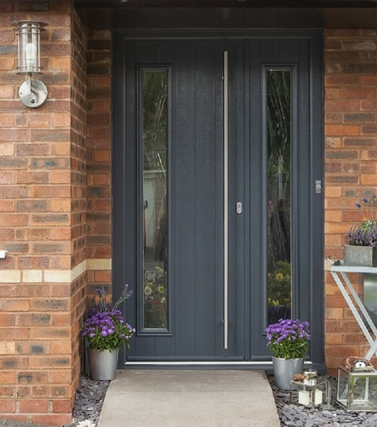 Modern composite doors in Oxford with sstylish side panels, by Solidor
